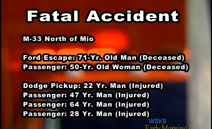 Fatal Crash Kills 2 and Sends 4 to the Hospital in Mio - WBKB11