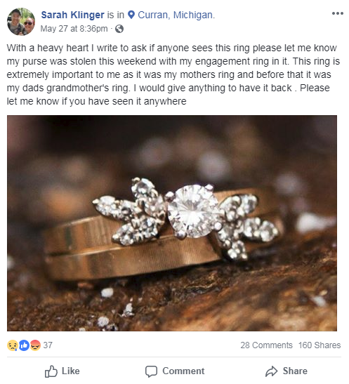 Engagement Ring Memorial Day Sale: UPDATE: Engagement Ring Stolen From Couple Visiting Over