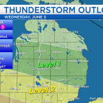 Risk of thunderstorms overnight; Less humid Wednesday
